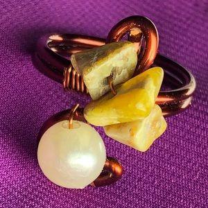 Handmade Stone & Bead Ring